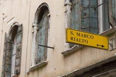 Muestra de Venecia que señala a San Marco Square Fotos de archivo libres de regalías