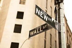 Muestra de Wall Street Imágenes de archivo libres de regalías