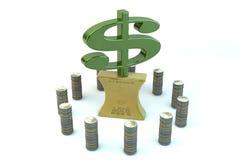 muestra de Yenes de 3d dólar americano en el oro aplanado-hacia fuera adentro Foto de archivo libre de regalías