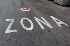 Muestra de Zona 30 Imagenes de archivo