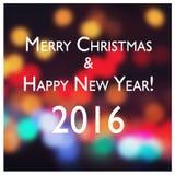 Muestra del Año Nuevo en fondo borroso del bokeh Tarjeta de la Feliz Navidad y de la Feliz Año Nuevo Fotografía de archivo
