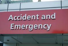 Muestra del accidente y de la emergencia hodpital foto de archivo