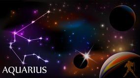 Muestra del acuario y espacio astrológicos de la copia libre illustration