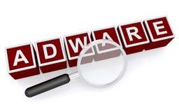 Muestra del adware con la lupa Fotos de archivo