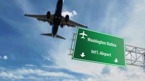 Muestra del aeropuerto Aeroplano de Washington que pasa por encima ilustración del vector