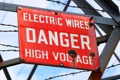 Muestra del alto voltaje del peligro Fotos de archivo libres de regalías