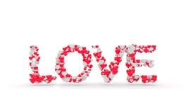 Muestra del amor de la fraseología con el corazón 3d rinden la ilustración Imagen de archivo libre de regalías