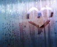 Muestra del amor sobre el vidrio Foto de archivo libre de regalías