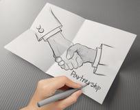 Muestra del apretón de manos como sociedad foto de archivo
