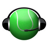 Muestra del auricular de la pelota de tenis Fotos de archivo