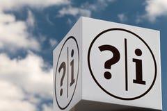 Muestra del aviso con la pregunta y la marca de exclamación Imagen de archivo libre de regalías