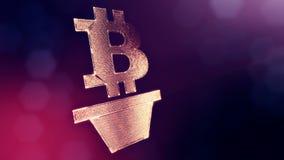 Muestra del bitcoin como houseplant Fondo financiero hecho de part?culas del resplandor como holograma vitrtual Animaci?n brillan libre illustration