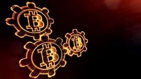 Muestra del bitcoin y de los engranajes Fondo financiero hecho de partículas del resplandor como holograma vitrtual Animación bri stock de ilustración