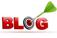 Muestra del blog con la tarjeta y la flecha de la blanco Fotografía de archivo libre de regalías