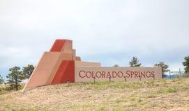 Muestra del borde de la carretera de Colorado Springs Fotos de archivo libres de regalías