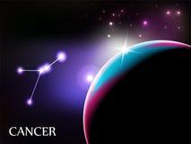 Muestra del cáncer y espacio astrológicos de la copia ilustración del vector