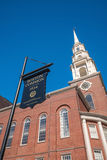 Muestra del campo común de la iglesia y de Boston de la calle del parque fotos de archivo libres de regalías