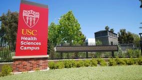 Muestra del campus de las ciencias de la salud de la Universidad de California del Sur almacen de metraje de vídeo