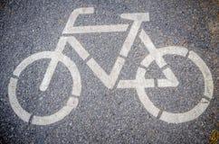 Muestra del carril de bicicleta en el camino Imagen de archivo
