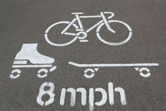 Muestra del carril de la bici Fotos de archivo