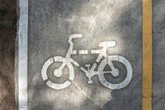 Muestra del carril de la bici en el camino Fotografía de archivo