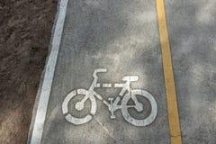Muestra del carril de la bici en el camino Imagen de archivo libre de regalías