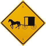 Muestra del carro y del cochecillo de Amish Imagen de archivo