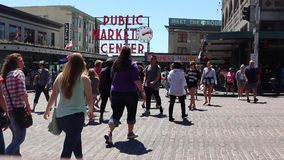 Muestra del centro del mercado público del lugar de Pike almacen de video