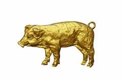 Muestra del cerdo del oro usada en el templo en aislante en el fondo blanco Imágenes de archivo libres de regalías