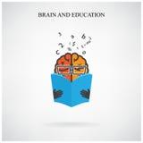 Muestra del cerebro y símbolo creativos del libro en el fondo, diseño para el po Fotos de archivo libres de regalías