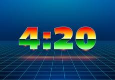muestra del 4:20 con los d?gitos dise?ados retros del cromo libre illustration