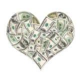 Muestra del corazón hecha por 100 billetes de banco del dólar Foto de archivo libre de regalías