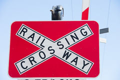 Muestra del cruce ferroviario al aire libre Imagenes de archivo