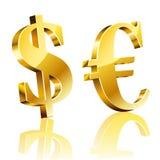 muestra del dólar 3D y del euro Foto de archivo libre de regalías