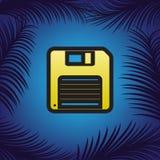 Muestra del disco blando Vector Icono de oro con contorno negro en el azul stock de ilustración