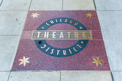 Muestra del distrito del teatro de Chicago Foto de archivo libre de regalías