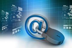 Muestra del email con el candado Fotografía de archivo libre de regalías