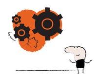 Muestra del engranaje de la idea del hombre del garabato stock de ilustración