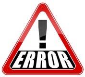 Muestra del error Fotos de archivo