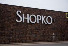 Muestra del escaparate de Shopko imagenes de archivo