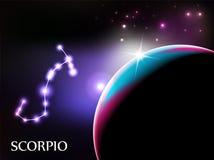 Muestra del escorpión y espacio astrológicos de la copia ilustración del vector