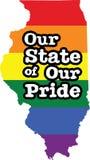 Muestra del estado del vector del orgullo gay de Illinois stock de ilustración