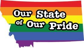 Muestra del estado del vector del orgullo gay de Montana Foto de archivo