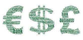Muestra del euro, dólar, libra ilustración del vector