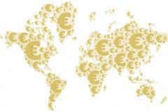 Muestra del euro del mapa del mundo Foto de archivo libre de regalías