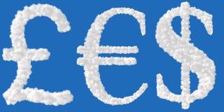 Muestra del euro y de la libra del dólar ilustración del vector