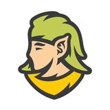 Muestra del extracto de la cabeza del duende Ejemplo simple del vector stock de ilustración