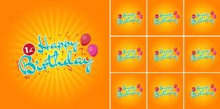 Muestra del feliz cumpleaños con los globos durante los 1ros - 10mos años del confeti stock de ilustración