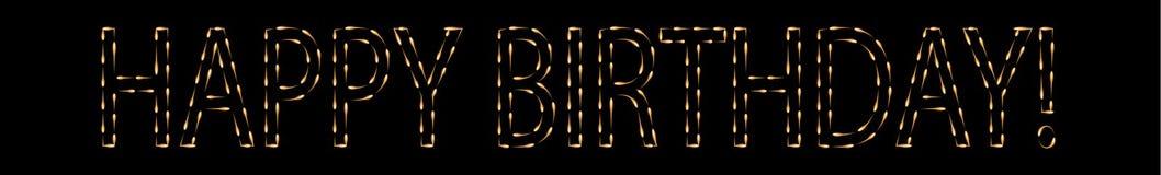 Muestra del feliz cumpleaños hecha por las luciérnagas Imagen de archivo