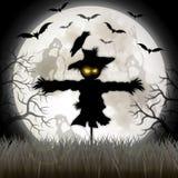 Muestra del feliz Halloween con el espantapájaros ilustración del vector